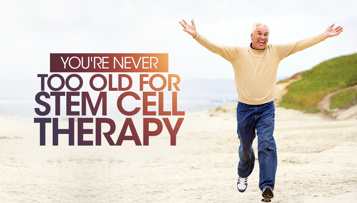 older man running excited stem cell